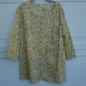 Liz Claiborne Yellow/Gold Button Front Tunic